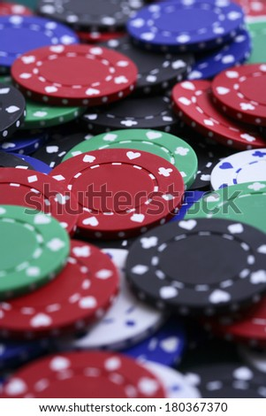 Assorted poker chips  - stock photo