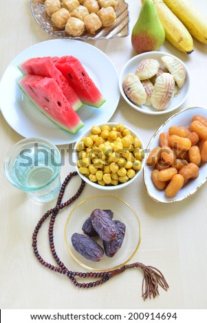 Assorted ramadan special food - bird eye view - stock photo