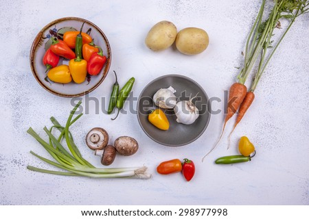 Assorted raw veggies. - stock photo