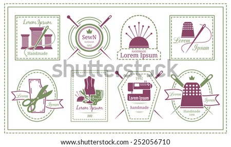 Assorted Retro Tailor Labels or Needleworks Emblems Graphic Designs on White Background. - stock photo