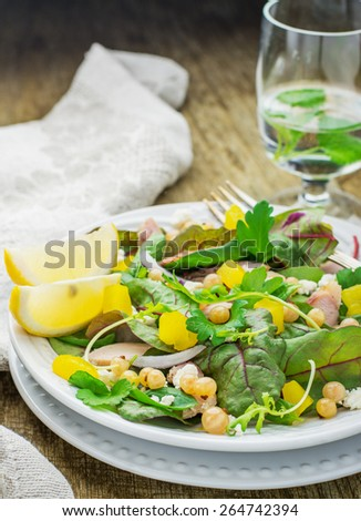 Assorted salad with arugula, spinach, chard, chicken, white currant berries, pineapple, purple sweet onions and feta cheese. selective Focus - stock photo