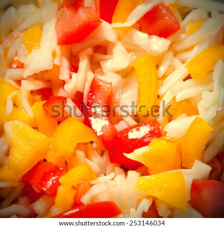Assorted salad with bell peppers, cabbage, tomatoes. instagram image style - stock photo
