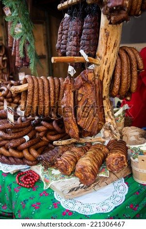 Assorted several kinds of sausages and smoked meats, smoked meat