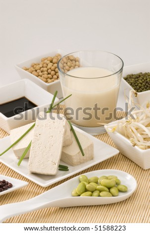 Assorted soy products on white background.