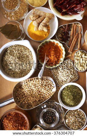 assorted spices and herb on the wooden table