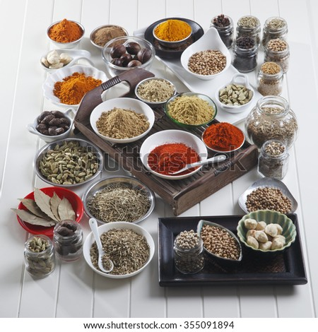assorted spices in different type container