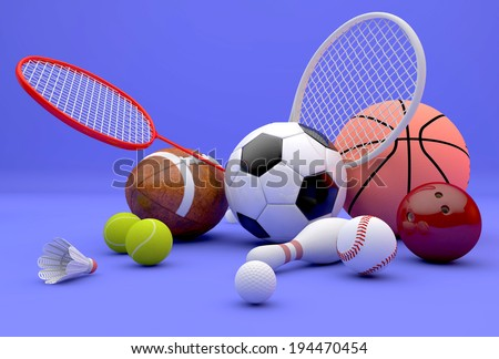 Assorted sports equipment including a basketball, soccer ball, tennis ball, baseball, tennis racket, football, birdie, badminton racket , bowling pin and ball on a violet background  - stock photo
