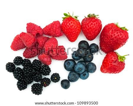 Assorted summer berries - strawberries, blueberries, blackberries - stock photo