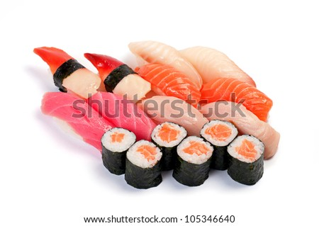 Assorted sushi. Assorted Moriavase. Roll with salmon, shellfish, salmon, tuna, yellowtail - stock photo