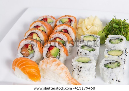 Assorted sushi dish on a white square dish