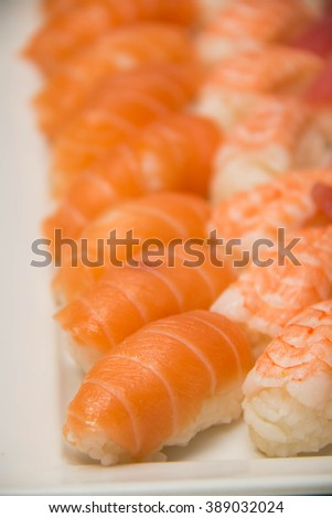 Assorted sushi platter including, tuna, shrimp, and salmon - stock photo