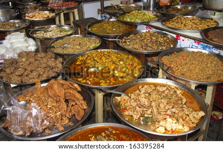 Assorted Thai food on street stall in Bangkok