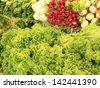 Assorted vegetables - organic trade - fair fairground - stock photo
