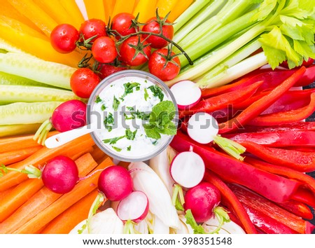 Assorted vegetables snack top view.Diet, healthy food concept. - stock photo