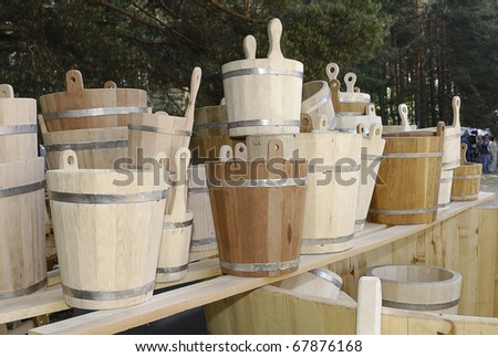 Assorted wooden buckets - stock photo