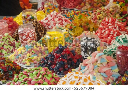 assortment colorful gummy candies at market (selective focus)