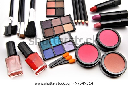 Assortment female makeup - stock photo