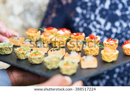 Assortment festive appetizers with bread, salmon, tapas, finger food - stock photo