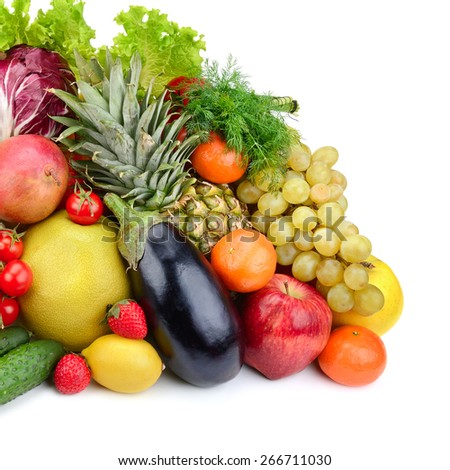 assortment fresh fruits and vegetables isolated on white background - stock photo