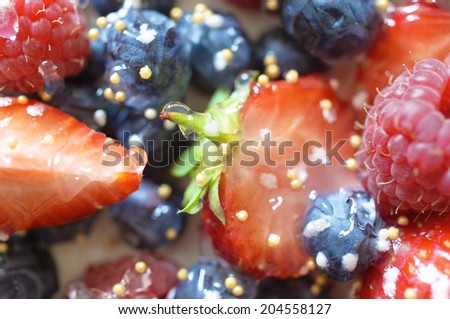 Assortment juicy sweet berries background