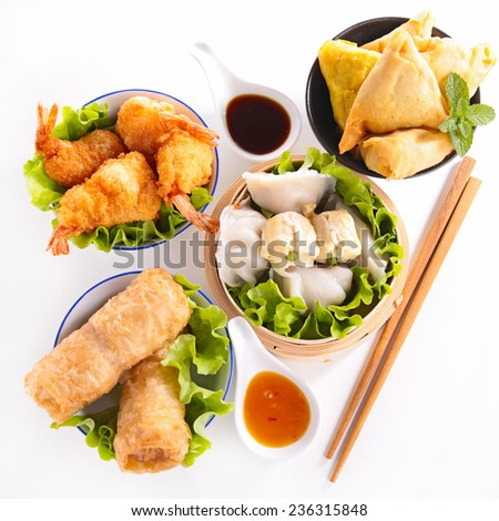 assortment of asia food - stock photo