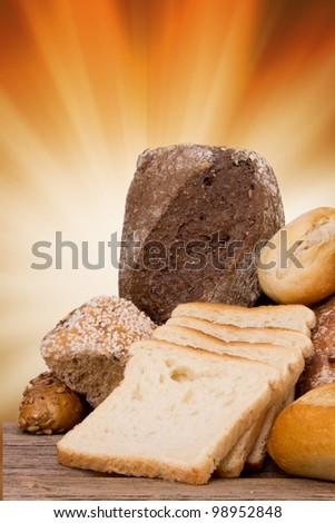 assortment of baked bread - stock photo