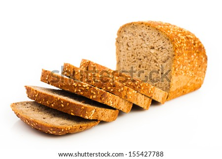 assortment of baked bread isolated on white background  - stock photo