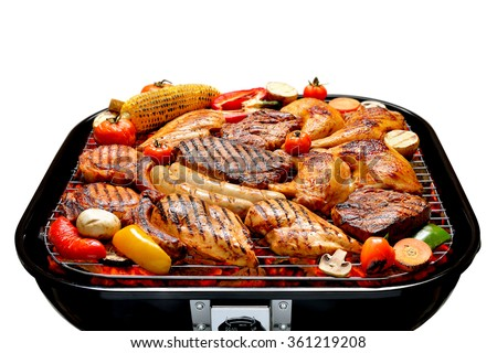 Assortment of barbecue on the grill isolated on white - stock photo
