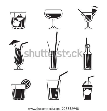Assortment of Black Cocktail Icons on White Background - stock photo