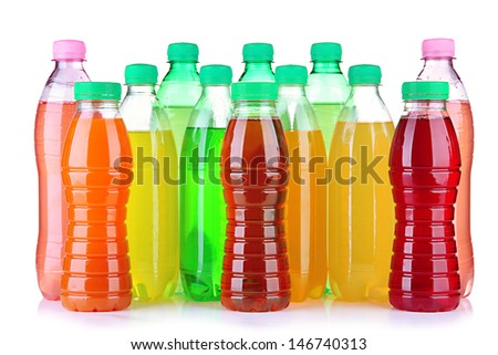 Assortment of bottles with tasty drinks, isolated on white