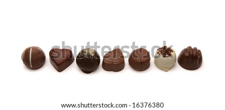 Assortment of chocolate pralines.