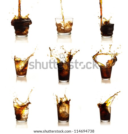 Assortment Of Cola Drinks On White Background - stock photo