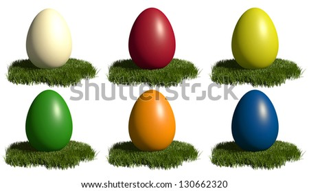 Assortment of colored easter eggs on grass patch - isolated on white - stock photo