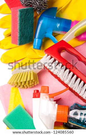 Assortment of colored means for cleaning and washing - stock photo