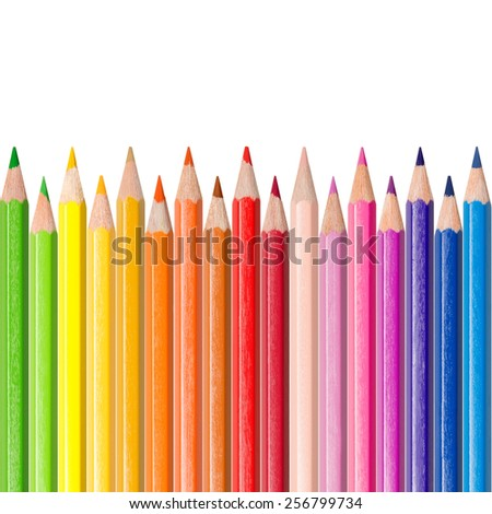 Assortment of colored pencils in front of white background, color concept  - stock photo