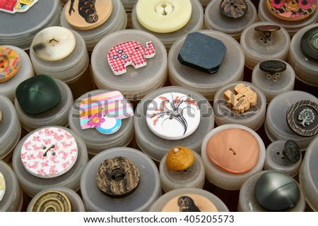 Assortment of colorful buttons, flea market, Germany.