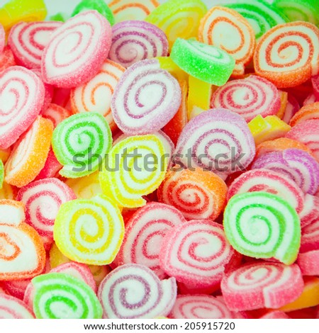 Assortment of colorful fruit jelly candy - stock photo
