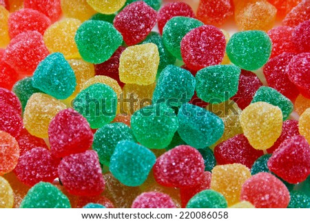 Assortment of colorful jelly candies. Gummy sweets - stock photo