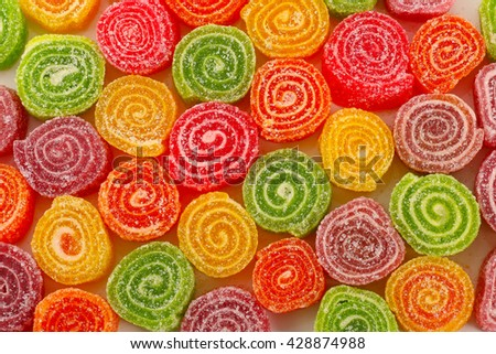 Assortment of colourful fruit jelly candies - stock photo