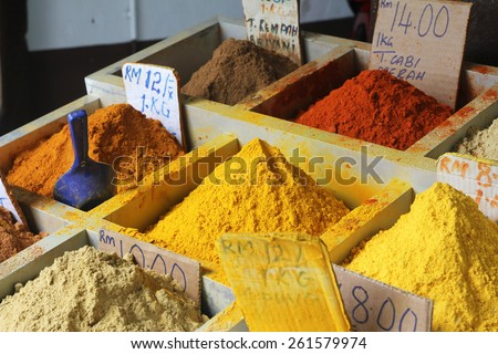 Assortment of colourful spice powder for sale along Gambier street in Kuching, Sarawak, Malaysia - stock photo