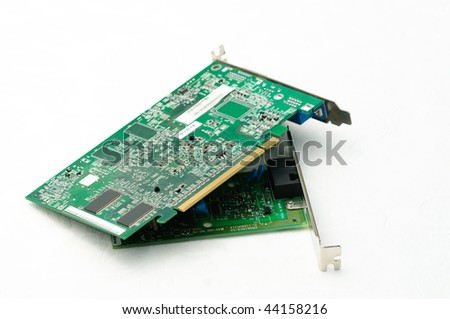 Assortment of computer chips and hardware on white