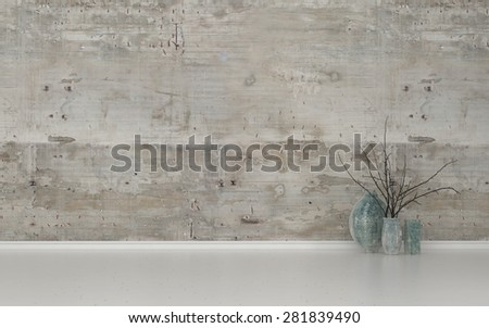 Assortment of Contemporary Vases with Twigs in Sparsely Decorated Room with White Floor and Bare Cement Walls with Copy Space. 3d Rendering. - stock photo
