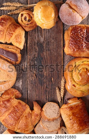 assortment of croissant,bread and pastries - stock photo