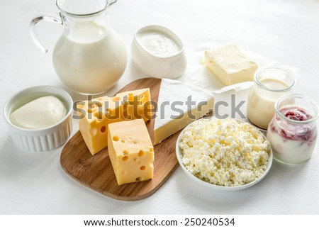 Assortment of dairy products - stock photo