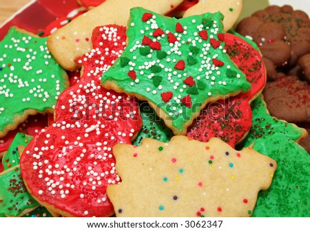 Assortment of decorated Christmas cookies. - stock photo