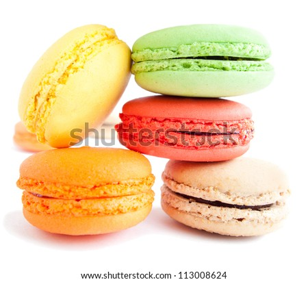 assortment of delicious and colourful french macaron cookies and biscuits - stock photo