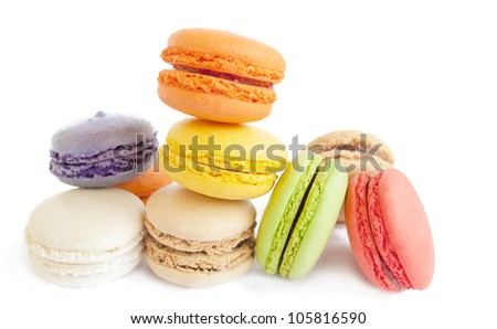 assortment of delicious french macaron cookies and biscuits isol - stock photo