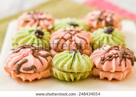 Assortment of delicious green and pink cookies on white plate - stock photo