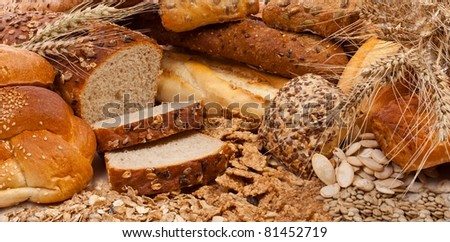 Assortment of different types of bread - stock photo