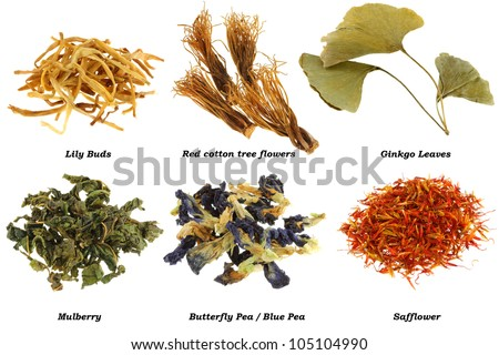 Assortment of Dried Herbal Tea (from leaves, flowers, stigmas), isolated on white background - stock photo